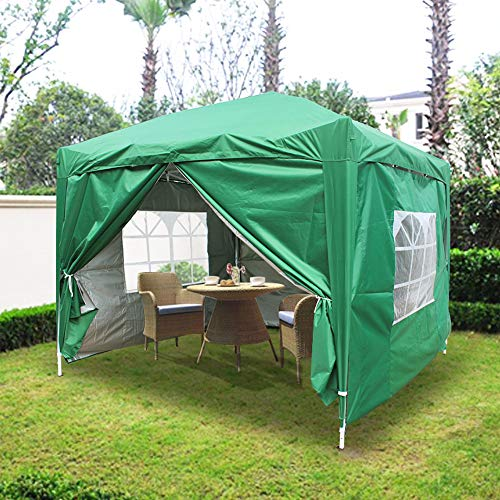 Greenbay 2x2M Outdoor Pop Up Gazebo With Silver Protective Layer | With 4 Sidewalls and Carrying Bag (Green)