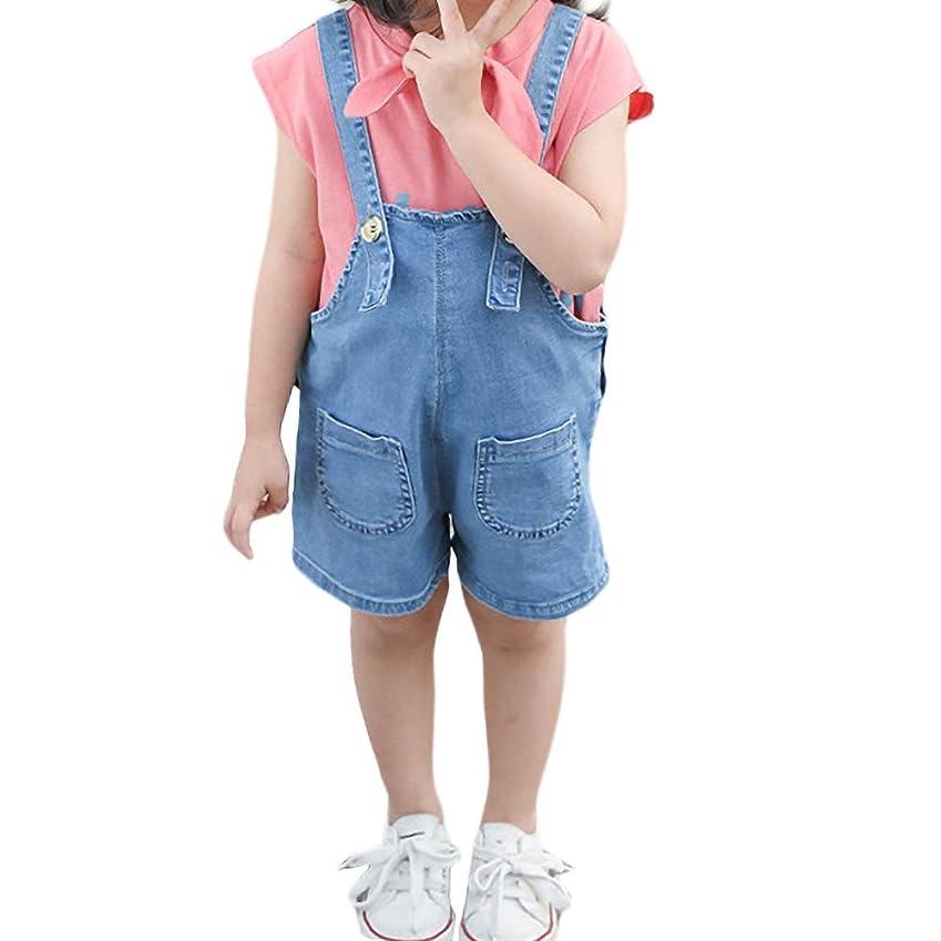 チャーター軍隊スピン(チレエコ)Chireeko 女の子 サロペット ベビー オーバーオール ロンパース サロペットパンツ ワイドパンツ トップス ハーフパンツ Tシャツ パンツ ベビー服 カジュアル かわいい おしゃれ 上下セット 2点セット