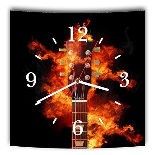 LAUTLOSE Designer Wanduhr mit Spruch Gitarre schwarz Feuer Musik Rock grau weiß modern Dekoschild Abstrakt Bild 29,5 x 28cm