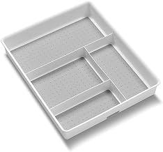 madesmart Basic Gadget Tray Organizer - White | Basic Collection | 4-Compartments | Multi-Purpose Storage | Non-Slip Linin...
