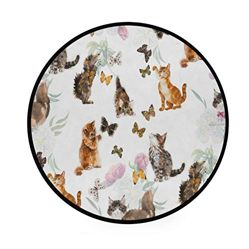 JUMBEAR - Alfombra de diseño de flores y mariposas, tamaño grande, antideslizante, para niños, decoración de cocina, salón, comedor, dormitorio, sala de juegos, dormitorio de 91,4 cm