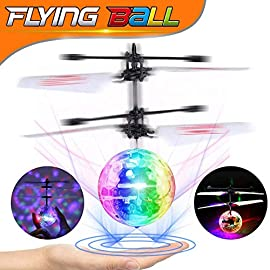 AMENON Easter RC Flying Ball Kids Toys Light Remote Control Rotating Charging Hand-Controlled Drone Helicopter Toy Light… 1 【How to Play】The flying toy has a built-in advanced inductive transmitter and inductive receiver. When switched on, it will light on and wait in 2 or 3 seconds, then automatically begin to fly. You can put your hand underneath to control and it will move away intelligently. Hovers up to 15 feet. 【Novelty Magic Light Up Ball】Wonderful flying helicopter, each has LED light. Shiny colorful fantastic LED lights flash alternately in flight, creating dazzling LED lighting fun for kids! Even in the dark, you can have fun. 【Safe for Child】When the kid turns on the switch, the ball will be delayed for 3 seconds to fly to ensure safety. When the toy hits things, it will turn off automatically to avoid damage. Made of durable Non-toxic ABS material, recommend our flying toys to the groups who are 6 years old or above.
