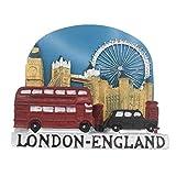 Weekino Souvenir Red Bus Eyes Bus Bridge Londres Inglaterra Reino Unido Imán de Nevera Resina 3D Viaje de la Ciudad Recuerdo de Viaje Colección de Pegatinas