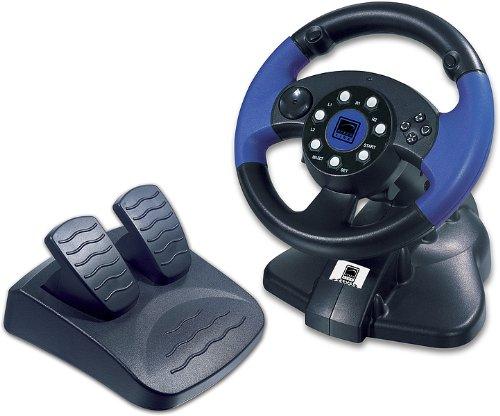 Speedlink Blue Lightning Lenkrad für Playstation 2/PS2 (analoge Schaltwippen, analoges Gas- und Bremspedal)