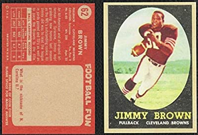 1958 Topps #62 JIM BROWN Rookie Card Cleveland Browns REPRINT - Football Card