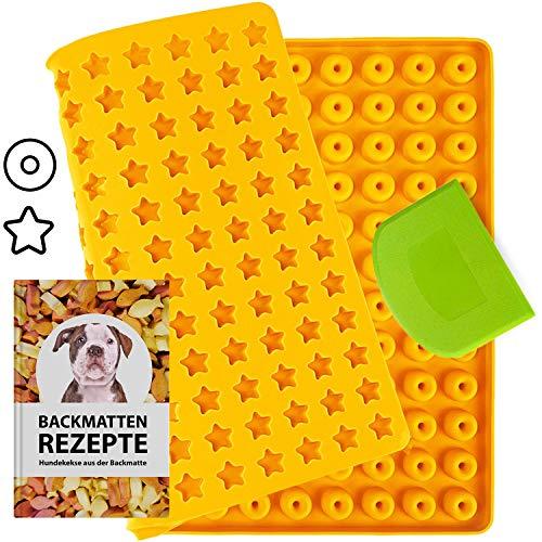 Estera de silicona con forma de estrella y donut para galletas para perros y golosinas para perros, con 20 recetas gratuitas y juego de espátulas (naranja)