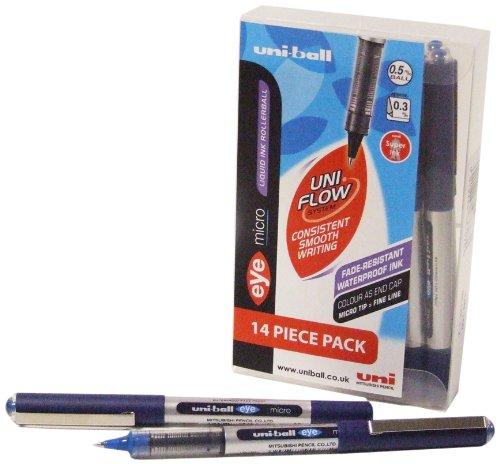 uni-ball Eye Micro UB150 - Confezione da 14 penne roller, colore: Blu