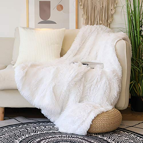Decorative Extra Soft Faux Fur Throw Blanket 50' x 60',Solid...