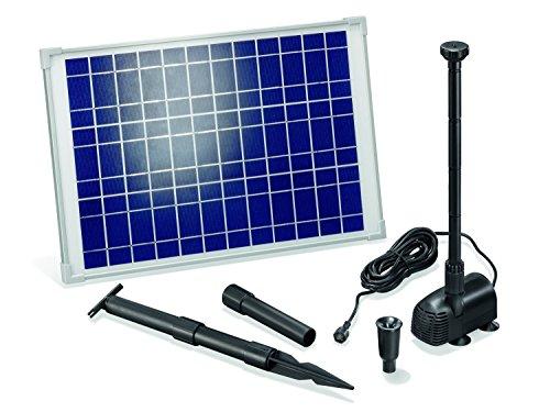 Solar Teichpumpe 20 Watt Solarmodul 1350 l/h Förderleistung 1,9 m Förderhöhe Komplettset Gartenteich, 101014