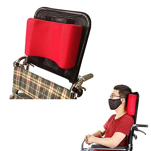 Wheelchair Headrest Neck Support Head Padding Portable Neck Rest Pillow Back Extension Headrest Cushion for Adults Travel Wheelchair Accessories (Red)