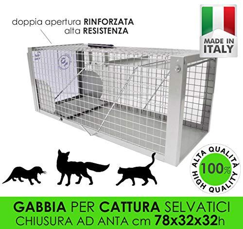 MEDICALMONO GABBIA TRAPPOLA MAXI 78CM SCATTO A PEDANA, CHIUSURA AD ANTA PROFESSIONALE RINFORZATA DI ALTA QUALITA\' CATTURA DI ANIMALI MEDI GATTO VOLPE NUTRIA MARMOTTA CM78X32X32H MADE IN ITALY