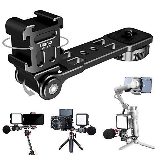 PT-13 Triple support pour caméra de montage sur griffe, barre d'extension de microphone pour microphone LED, compatible avec DJI Osmo Mobile 3 Zhiyun Smooth Feiyutech Gimbal