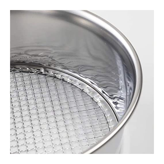 Hanafubuki wazakura 3pcs soil sieve set 8-1/4inch(210mm), made in japan, 3 sieve mesh filter sizes, japanese bonsai… 4 size: φ8. 26 x h 2. 55 in (φ210mm x 65mm)   sieve mesh sizes: 0. 04 in (1mm) 0. 11 in (3mm) 0. 19 in (5mm)   weight: 8. 6oz (245g)   material: frame - stainless steel, sieve mesh - iron made in japan