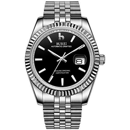 BUREI Mens Luxury Automatic Watches Schwarzes Zifferblatt Analoges Kalenderfenster Saphirglas mit Silber Edelstahlband