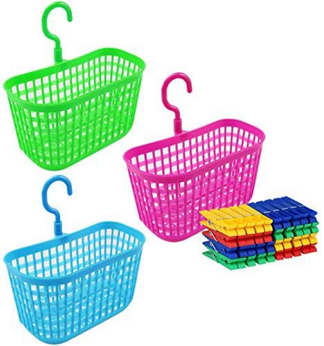 com-four® 43 Pezzi Set di mollette e cestello per mollette in Diversi Colori - Cesto con Clip e Maniglie per Appendere (Set03-43 Pezzi)