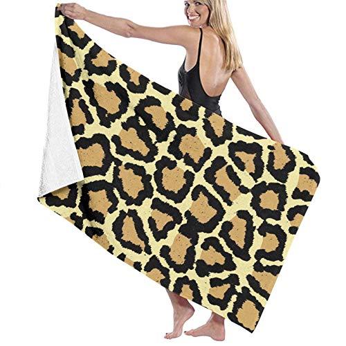LREFON Toallas de baño de Piel de Leopardo Doradas Toalla de Ducha de Secado rápido a la Moda Toalla de baño de Playa Suave con Personalidad (31.5X51.2 Pulgadas)