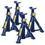 ECD Germany 4 x Chandelles de Levage de Voiture 2t - Bleu - en Acier - Cric Levage de...