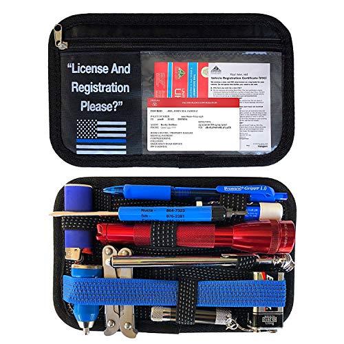 Rorex Registration and Insurance Card Holder, Grid Organizer, Thin Blue line, Law Enforcement, Glove Box, Center Console Organizer