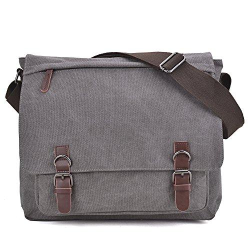 Large Vintage Canvas Messenger Shoulder Bag Crossbody Bookbag Business Bag for 15inch Laptop Grey