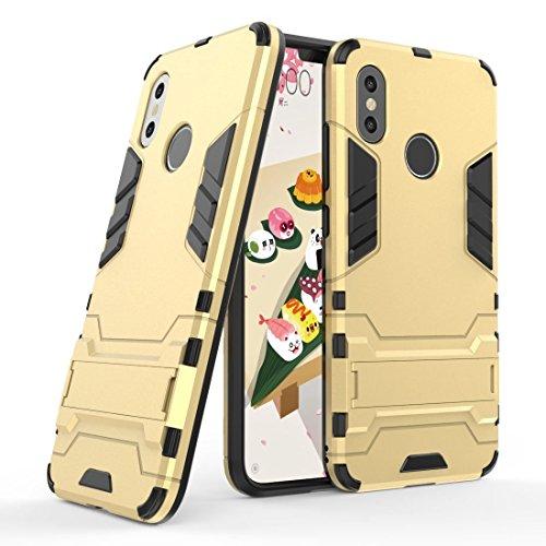 Funda para Xiaomi Mi 8 (6,21 Pulgadas) 2 en 1 Híbrida Rugged Armor Case Choque Absorción Protección Dual Layer Bumper Carcasa con Pata de Cabra (Dorado)