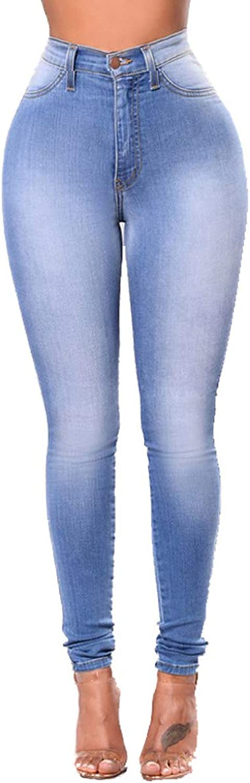 Chowsir Women High Waist Elastic Skinny Jeans