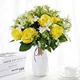 Herran Mazzo di Rose Gypsophila, Rose Finte Realistiche A Gambo Lungo Singolo, Bouquet da ...