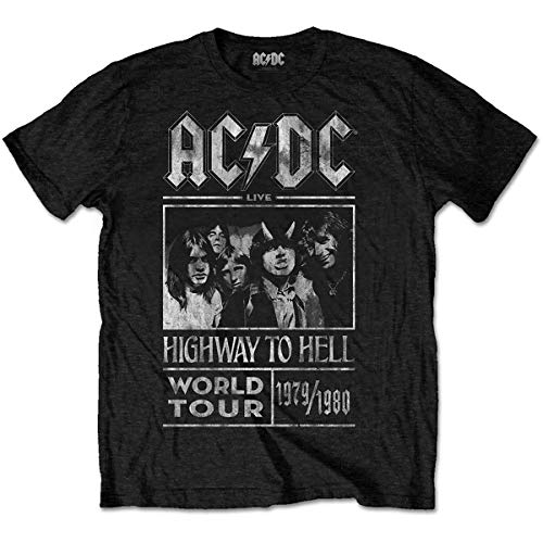 ACDC Herren Highway to Hell World Tour 1979/80 T-Shirt, Schwarz (Black Black), Medium