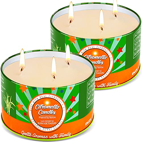 Large Citronella Candles Outdoors, Aottom Citronella Candle Garden with 3 Wicks, Natural Soy Wax | Essential Citronella Oil | 14OZ x 2, Large Citronella Candles,150H, for Garden/Outdoor/Indoor/Camping