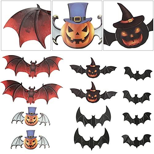 LIOOBO Pegatina de Murciélago en 3D para El Tema de Halloween Se Puede Pegar en Superficies Lisas Paredes Ventanas Etc. 1 Juego de 6 Juegos