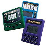 RecZone LLC Vegas Gambling Electronic Travel Game Pack - Slot Machine, Solitaire, and Blackjack Handheld Game