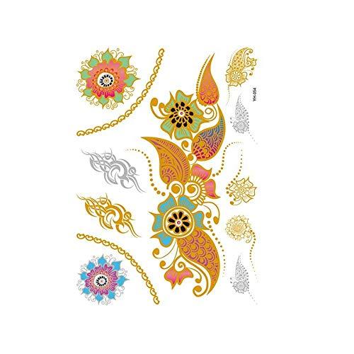 Autocollants de tatouage bronzage rétro autocollants de tatouage imperméables ensemble autocollants d'impression de couleur argent chaud-YH-054_148 * 210MM