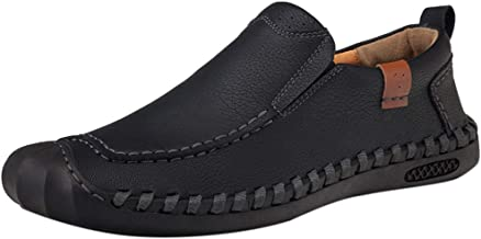 Men's Plus Size British Style Hand-Stitched Casual Shoes Comfortable Slip-On Lazy Shoes for Daily Home