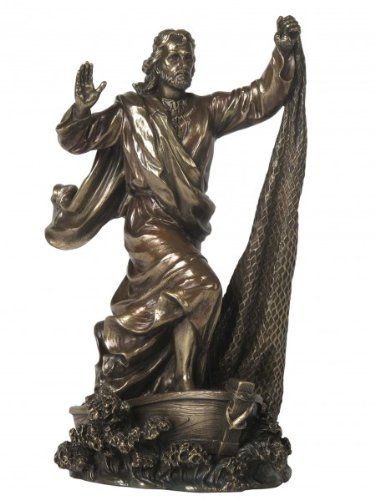 Unbekannt Jesus der Fischer wirft Netz aus Gott Figur Kreuz bronziert Skulptur