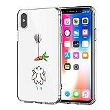 Caler Funda iPhone X Case, Suave TPU Gel Silicona Ultra-Delgado Ligera Anti-rasguños Protección Cuentos de Hadas Carcasa para Apple iPhone (Conejo)