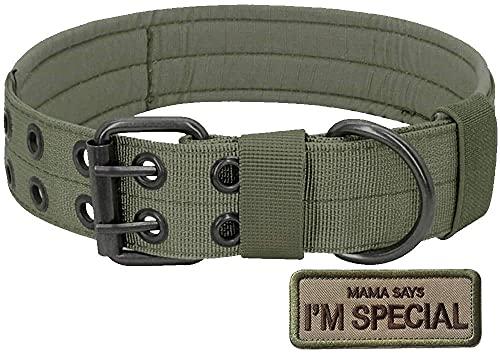 S.Lux Collare di Cane, Collare per Cani Regolabile di Addestramento Militare di Nylon del Collare Tattico con la Fibbia del Metallo per i Piccoli Cani di Taglia Medio Grande (Army Green, XL)