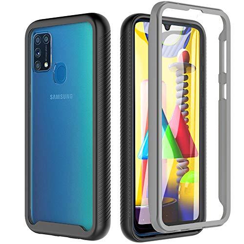 """Hensinple Funda Samsung Galaxy M31+Pantalla Protector Integrado 360° Antigolpes Completamente Sellado, Carcasa Completa Transparente 360 ° Protección para Samsung Galaxy M31-6.4"""""""