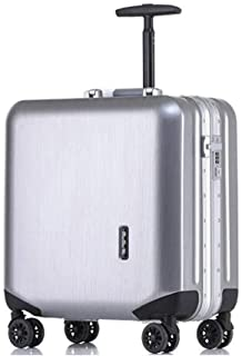 HPXCAZ Luggage 18 Inch Boarding Small Box Air Box Silver Neutral Business Suitcase Scrub Brushed Shaving Box Black Blue Pink White Silver Gray (Color : Silver, Size : 18 inches)