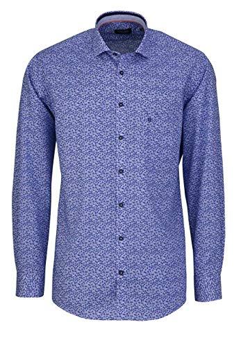 Hatico Regular Fit Hemd Langarm Haifischkragen Muster blau Größe 44