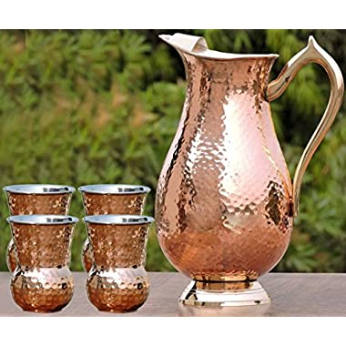 SKAVIJ Set of 4, Water Glasses and a Royal Mughal Jug Indian Copper Pitcher Drinkware Set, Capacity 2 Liters