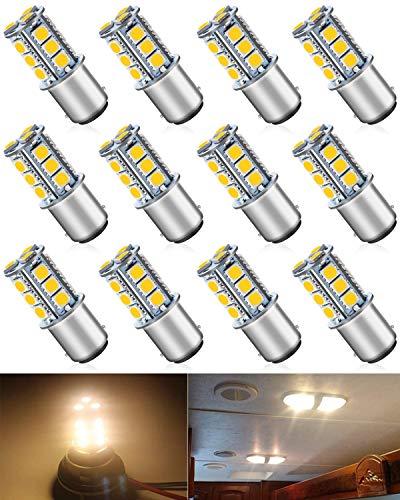 ALOPEE 12-Pack BA15D 1142 Doux Blanc Chaud 3000k LED Lumière 12V-DC, 5050 18 SMD Remplacement De Voiture Pour L'intérieur RV éclairage Camper Clignotants Feu Arrière BackUp Bulbs