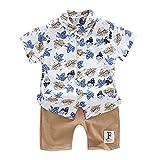 Moneycom - Conjunto de ropa para bebé, diseño floral en T y pantalones cortos y pantalones cortos de algodón, 2 unidades marrón 2-3 Años
