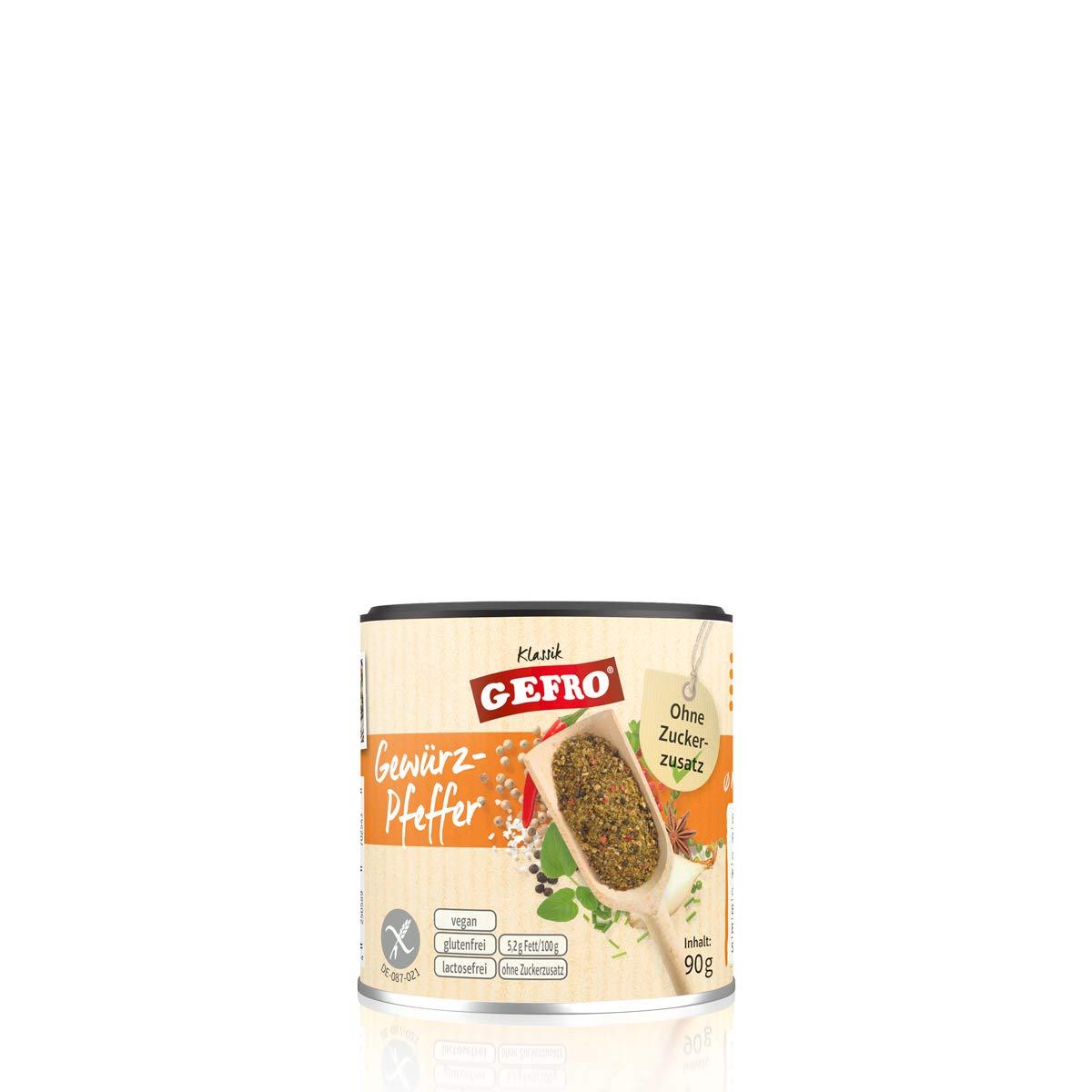 Gefro Gewürz Pfeffer Zum Würzen Verfeinern Von Rohkost Salat Fleisch Fisch 90g Amazon De Lebensmittel Getränke