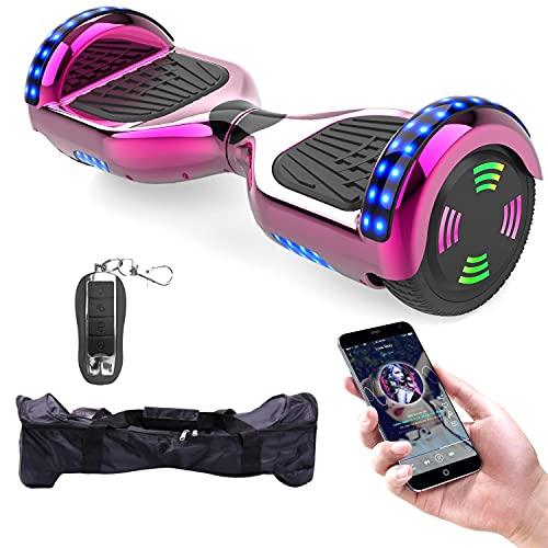 MICROGO Hoverboard für Kinder mit Fernbedienung & Tragetasche, Elektro Skateboard mit LED Leuchten & Bluetooth Musik und Fernschalter, Elektroroller für Jugendliche und Erwachsene, Z5, Chrom Rosa