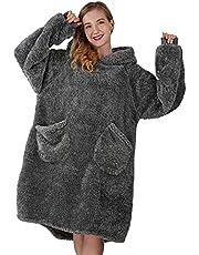 Winthome 着る毛布 着るブランケット ゲーミング ルームウェア フード ポケット付き 部屋着 オーバーサイズ かいまき ガウン メンズ レディース 冷え対策 防寒 保温