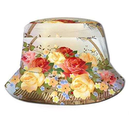 DFHGFJGH Sombrero de Pescador Sun Cap Wicker Basket Roses Victorian Style Bucket Sun Hat for Men & Women Protection Packable Summer Fisherman Cap for Fishing, Safari, Beach & Boa