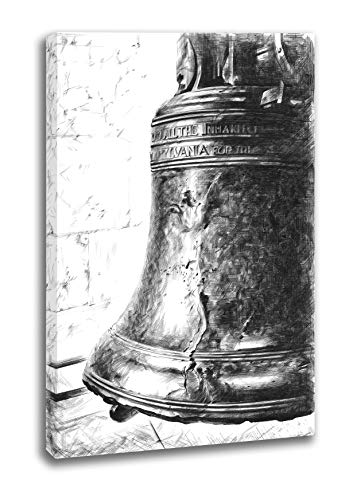 INTALENCE ART Unique Liberty Bell Philadelphia Black and White Wall Decor, 12x18in American Symbol Wall Art, Premium Print on Canvas, Modern Home and Office Picture Decoration, Easy and Ready to Hang.