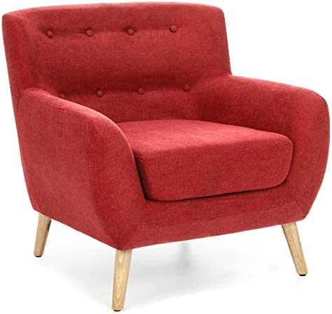 Best Best Choice Products Mid-Century Modern Linen Upholstered Button Tufted Accent Chair - Red