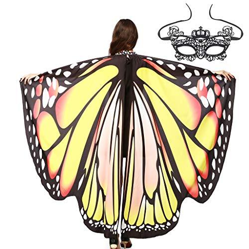 MRULIC Damen Schmetterling Schal Umhang FaschingkostüMe SchmetterlingsflüGel Erwachsene KostüMzubehöR Pixie Cosplay Karneval Fasching Weicher Neuheit Printed TanzkostüM(A6)