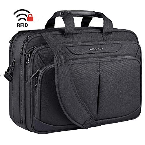 KROSER Laptop Bag 17.1' Upgraded Expandable Lightweight Briefcase for 17' Laptop Premium Business Work Bag Water-Repellent Messenger Bag with RFID Pockets for School/Travel/Women/Men-Black