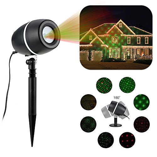 Tomshine lampe d'ambiance automatique 180 °rotatif Projecteur de LED 3 Couleur projecteur flocons IP65 étanche UL GS certificat pour deco mariage Festivité decoration de noel exterieur ou deco jardin
